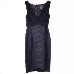 Adrianna Papell Shutter Pleat Sheath Black Dress
